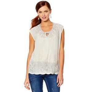 NWT Hillary Scott nude chiffon beaded top XS